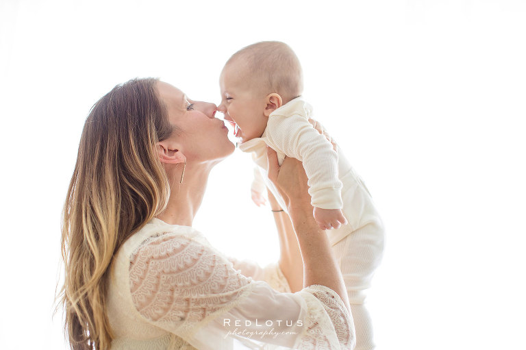 Baby photographer - mama kissing baby - lace anthropologie dress