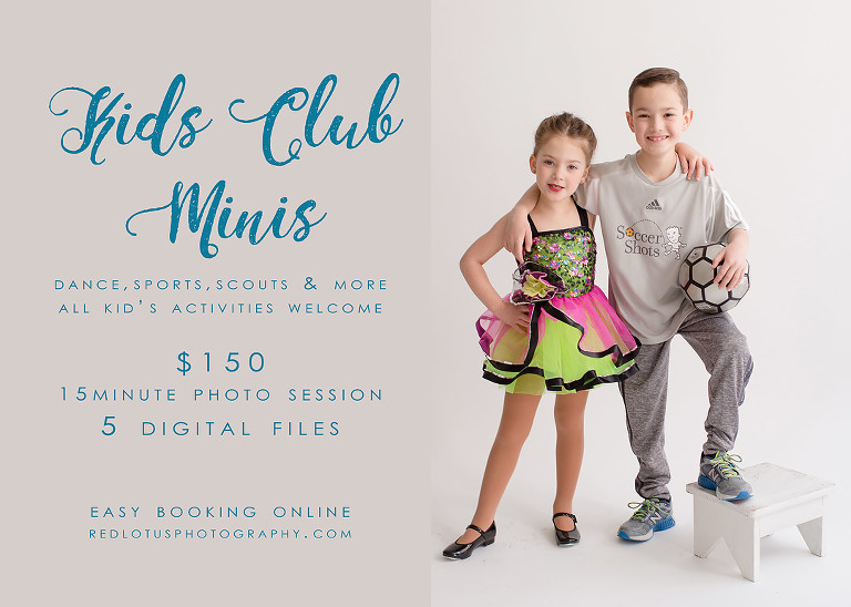 kids dance and sport photos in studio with white backdrop